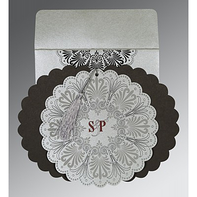 SILVER SHIMMERY FLORAL THEMED - EMBOSSED WEDDING CARD : I-8238A - 123WeddingCards
