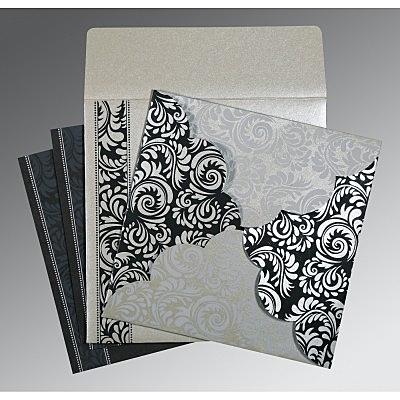 Shimmery Floral Themed - Screen Printed Wedding Invitations : G-8235B - 123WeddingCards