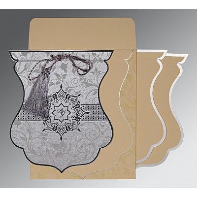 Shimmery Floral Themed - Screen Printed Wedding Card : RU-8229B - 123WeddingCards