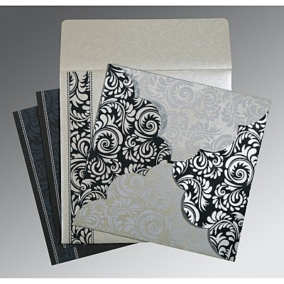 Shimmery Floral Themed - Screen Printed Wedding Card : RU-8235B - 123WeddingCards