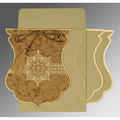Shimmery Floral Themed - Screen Printed Wedding Card : S-8229O - 123WeddingCards