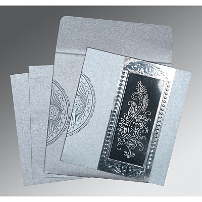 Shimmery Paisley Themed - Foil Stamped Wedding Invitation : D-8230F - 123WeddingCards