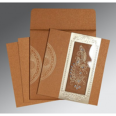 Shimmery Paisley Themed - Foil Stamped Wedding Invitation : D-8230Q - 123WeddingCards