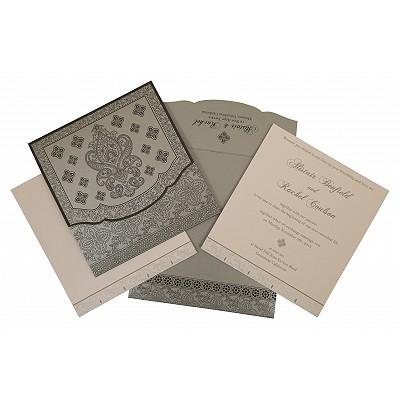 Shimmery Screen Printed Wedding Invitation : I-800E - 123WeddingCards