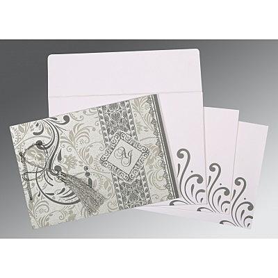 Shimmery Screen Printed Wedding Invitations : I-8223A - 123WeddingCards