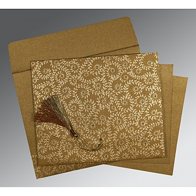SATIN GOLD SHIMMERY SCREEN PRINTED WEDDING INVITATION : IN-8217C - 123WeddingCards