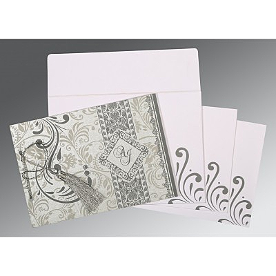 Shimmery Screen Printed Wedding Card : S-8223A - 123WeddingCards