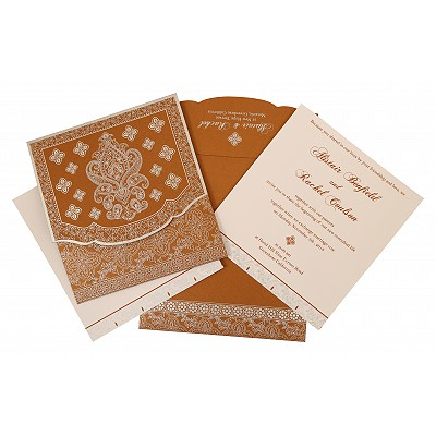 Shimmery Screen Printed Wedding Invitation : W-800B - 123WeddingCards
