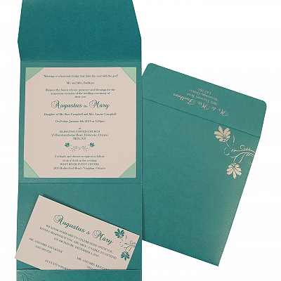 Turquoise Shimmery Screen Printed Wedding Invitation : S-803A - 123WeddingCards