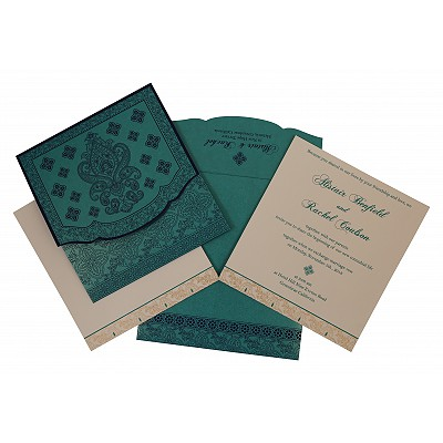 Turquoise Shimmery Screen Printed Wedding Invitation : W-800D - 123WeddingCards