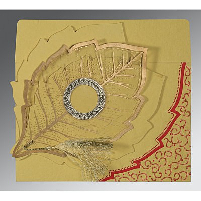 Yellow Handmade Cotton Floral Themed - Foil Stamped Wedding Card : I-8219G - 123WeddingCards