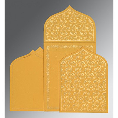 Yellow Handmade Silk Paisley Themed - Glitter Wedding Invitation : W-8208N - 123WeddingCards