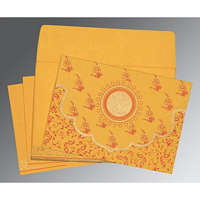 Yellow Handmade Silk Screen Printed Wedding Invitation : D-8207O - 123WeddingCards