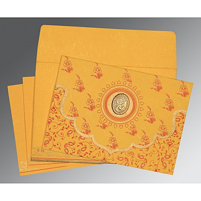 Yellow Handmade Silk Screen Printed Wedding Invitation : I-8207O - 123WeddingCards