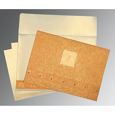 Yellow Matte Embossed Wedding Invitation : D-1296 - 123WeddingCards