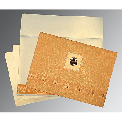 Yellow Matte Embossed Wedding Invitations : W-1296 - 123WeddingCards