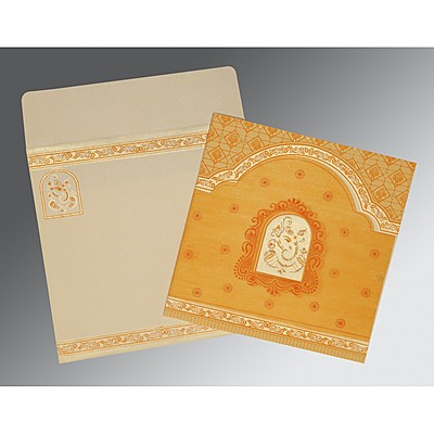Yellow Matte Embossed Wedding Invitation : W-2212 - 123WeddingCards