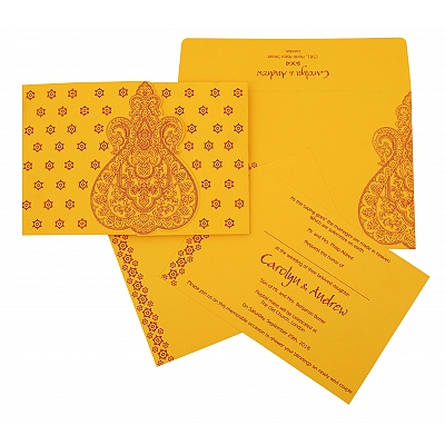 Yellow Paisley Themed - Screen Printed Wedding Invitation : S-801A - 123WeddingCards