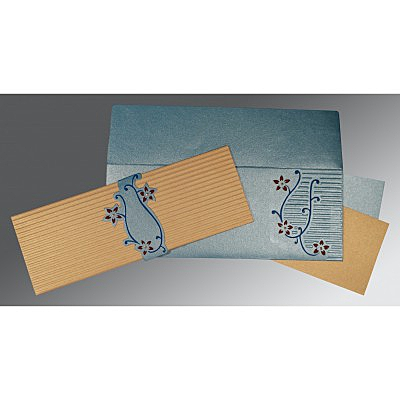 SMOKE BLUE GOLD SHIMMERY EMBOSSED WEDDING INVITATION : IN-1400 - 123WeddingCards