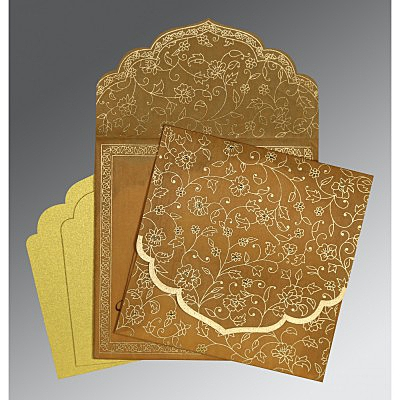 Yellow Wooly Floral Themed - Screen Printed Wedding Invitations : C-8211E - 123WeddingCards
