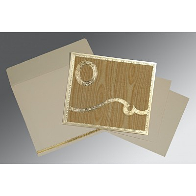 Yellow Wooly Foil Stamped Wedding Invitation : RU-1402 - 123WeddingCards