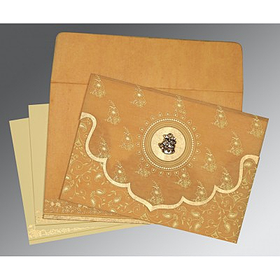 Yellow Wooly Screen Printed Wedding Invitation : C-8207F - 123WeddingCards