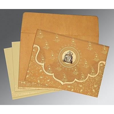 Yellow Wooly Screen Printed Wedding Invitation : G-8207F - 123WeddingCards