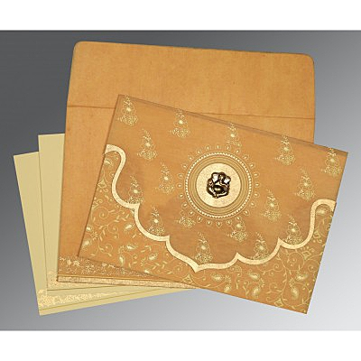Yellow Wooly Screen Printed Wedding Invitations : IN-8207F - 123WeddingCards