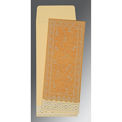 Yellow Wooly Screen Printed Wedding Invitation : RU-8220O - 123WeddingCards